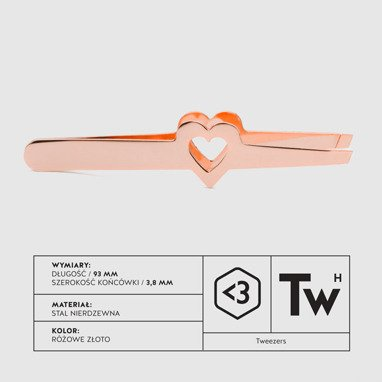Lovenue tweezers in stainless steel - INOX - rose gold color