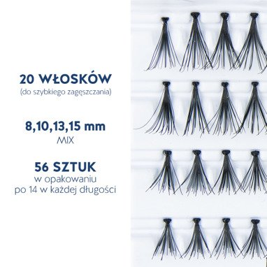 Fake individual eyelashes with knot, thickness 20 hairs, MIX Lovenue by Magda Pieczonka (mix)