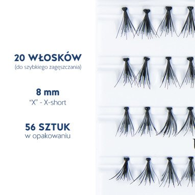 Fake individual eyelashes with knot, thickness 20 hairs, lenght 8 mm Lovenue by Magda Pieczonka (X)