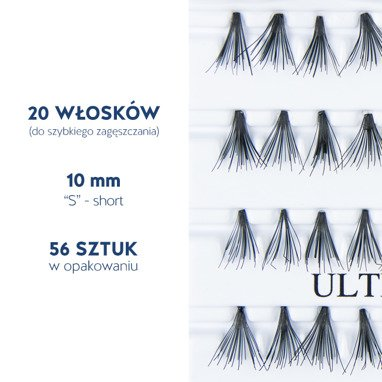 Fake individual eyelashes without knot, thickness 20 hairs, lenght 10 mm Lovenue by Magda Pieczonka (X)