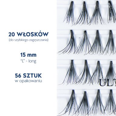 Fake individual eyelashes without knot, thickness 20 hairs,  lenght 15 mm Lovenue by Magda Pieczonka (L)