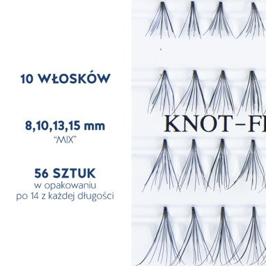Fake individual eyelashes without knott, thickness 10 hairs, MIX 8,10,13,15 mm Lovenue by Magda Pieczonka (mix)
